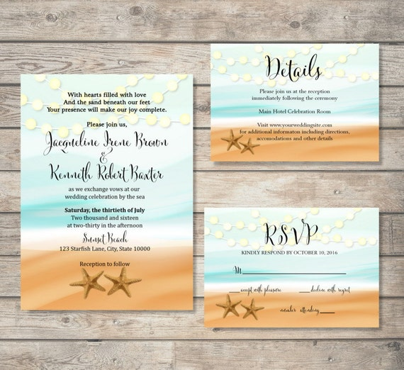beach theme bridal shower invitation starfish and string of lights invitation ocean and sand