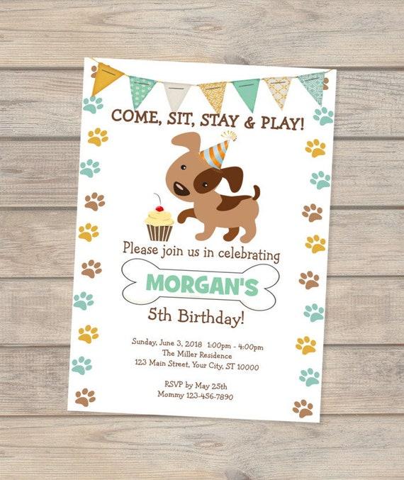 Puppy Invitation Birthday Doggy Dogs