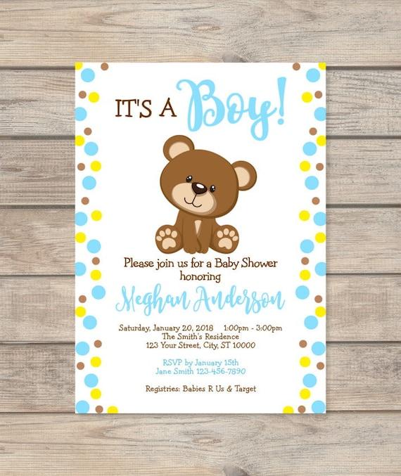 boy teddy bear baby shower invitation custom blue dots baby etsy