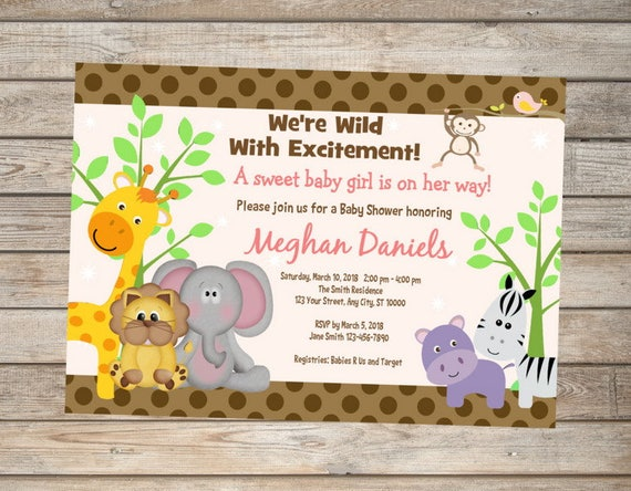 Jungle animals baby shower invitation pink and brown jungle etsy image 0 filmwisefo