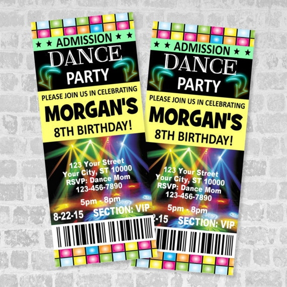 ticket dance party invitation custom boy or girl dance etsy