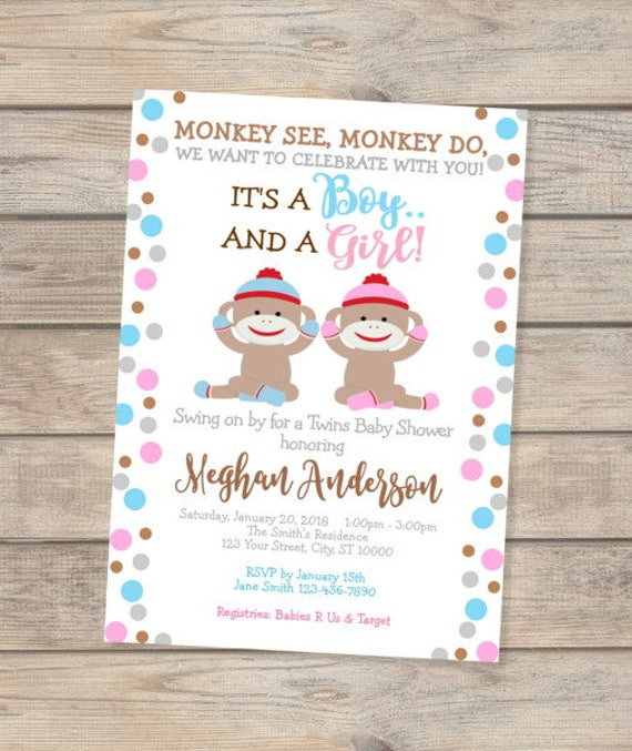 Sock Monkey Twins Baby Shower Invitation Boy And Girl