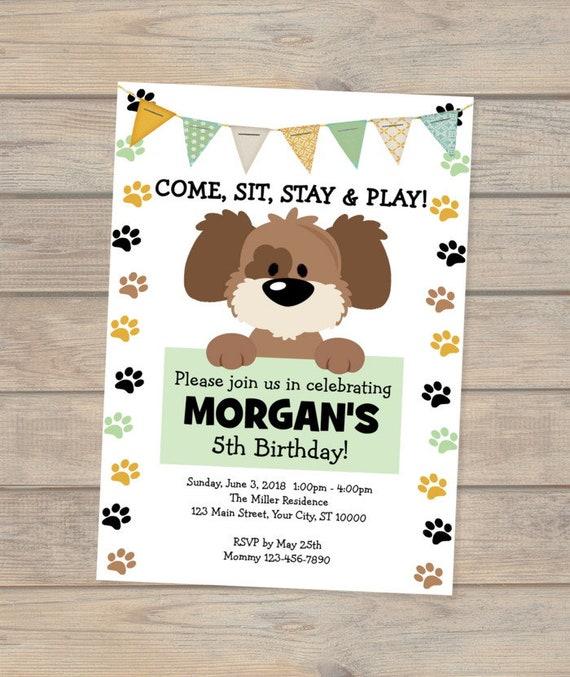 Puppy Invitation Dog Birthday Doggy
