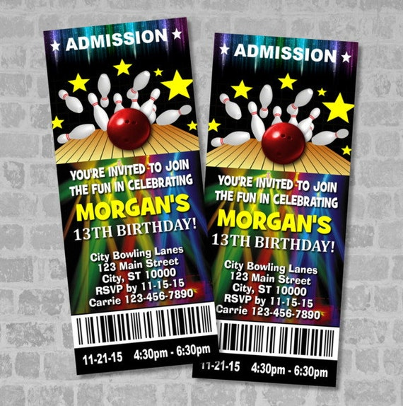 Bowling Birthday Party Ticket Invitation Custom Invites Digital Or Printed