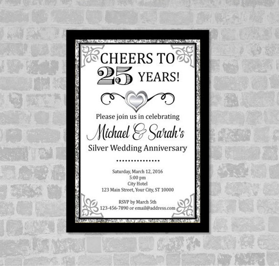 25th Wedding Anniversary Invitation, Black And Silver Anniversary Invite, Silver (Digital) Glitter Invitation, 25th Anniversary Party Invite