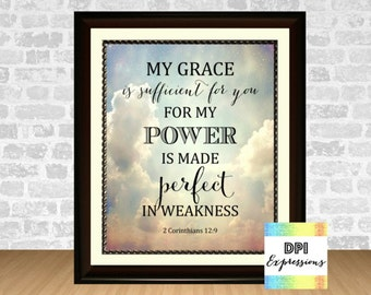 Bible Verse Art Print My Grace Is Sufficient For You, 2 Corinthians 12:9 Printable Christian Wall Decor Scripture Art Print INSTANT DOWNLOAD