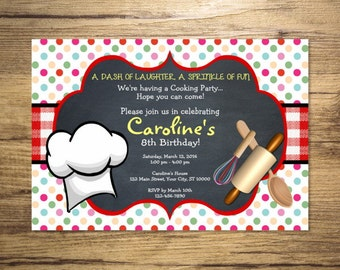 Cooking Party Invitation, Chef Birthday Party Invitation, Dots, Red Gingham And Chalkboard Invitations, Digital or Printed