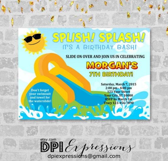 waterslide invitation printable splash water slide birthday party