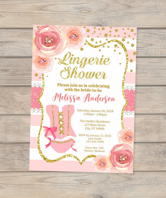Lingerie Shower Invitation Pink And Gold Lingerie Bridal Shower