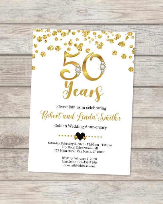 50th Wedding Anniversary Invitation Golden Anniversary Invitation Custom Personalized Gold Confetti 50th Anniversary Invite 50th Party