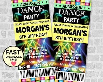 Ticket Dance Party Invitation, Custom Boy or Girl Dance Birthday Party Ticket Invites, Dance Party, Disco Party Ticket Invite, Dance Ticket