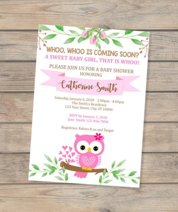 Pink Owl Baby Shower Invitation Baby Girl Owl Invitation Cute Baby