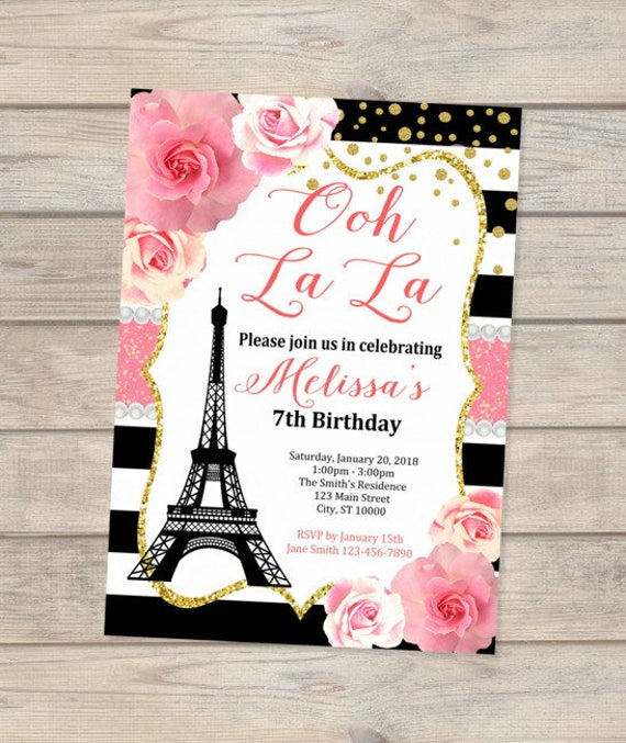 Paris Birthday Invitation Eiffel Tower French Image 0