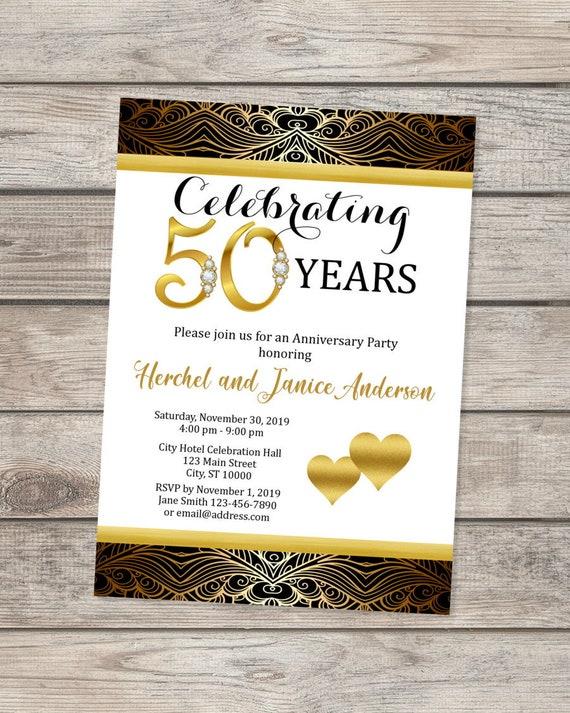 50th Wedding Anniversary Invitation Black And Gold 50th Etsy