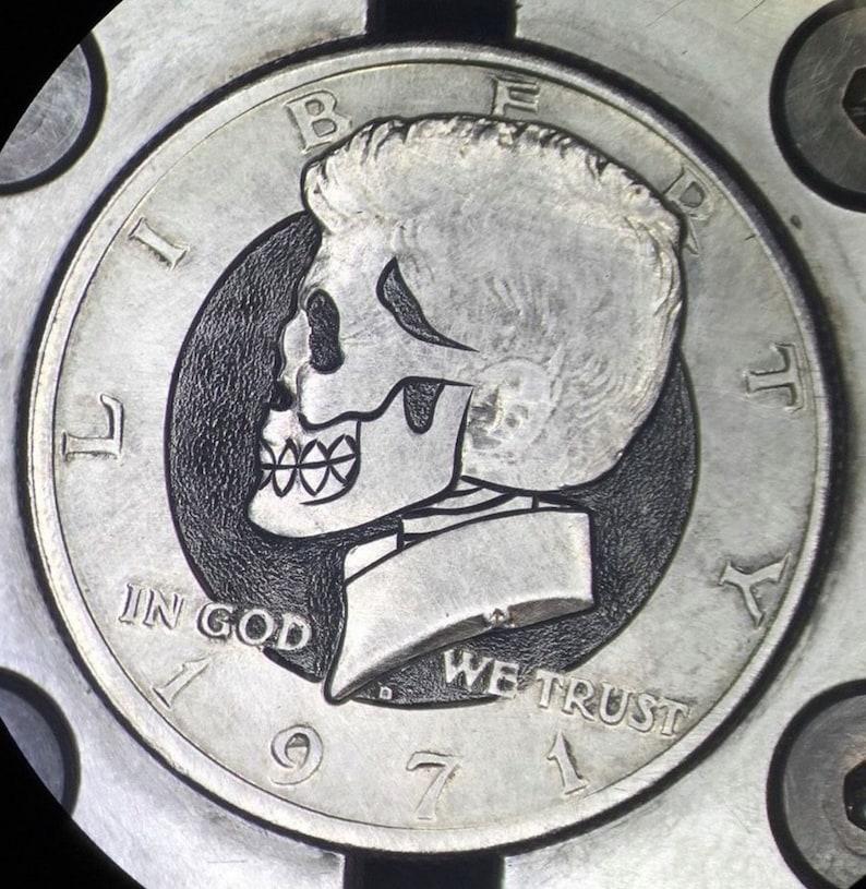 Hand Carved Zombie Skeleton Skull Hobo Nickel Engraved Coin Art