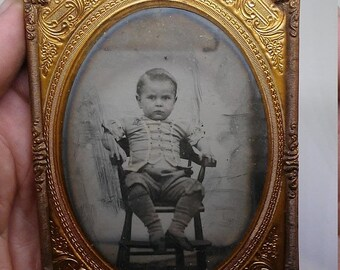 Flash 50% off sale Vintage 1860s Civil War era Child Degerryotype Child in Uniform