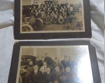 Flash 50% off sale 2 Vintage large CDV Automobile Machine Shop Photographs