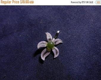 Flash 50% off sale Vintage Sterling Silver and Jade Flower Pendant