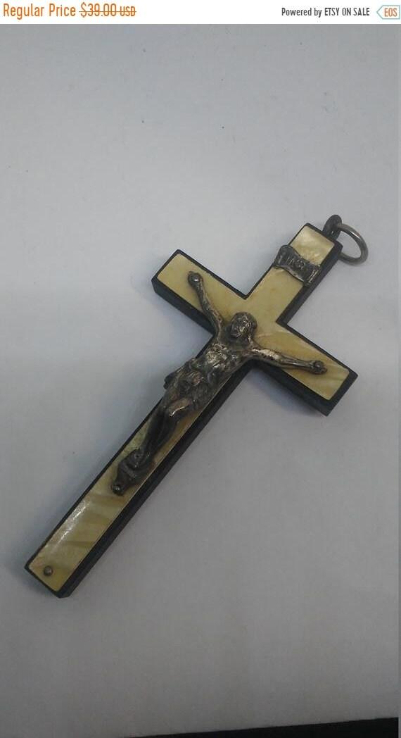 25% off Sale Antique German Christian Crucifix Cross Pendant