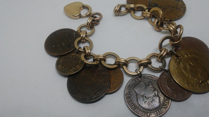 cbaa6616d906b Summer Sale 30% off Antique Charm Bracelet with Antique Civil War era  Political Tokins