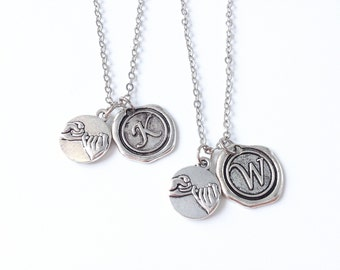 2 pinky promise necklaces with Wax Seal initial,Pinky Swear Necklace,couples necklace,Best Friends BFF necklace, His And Hers necklace