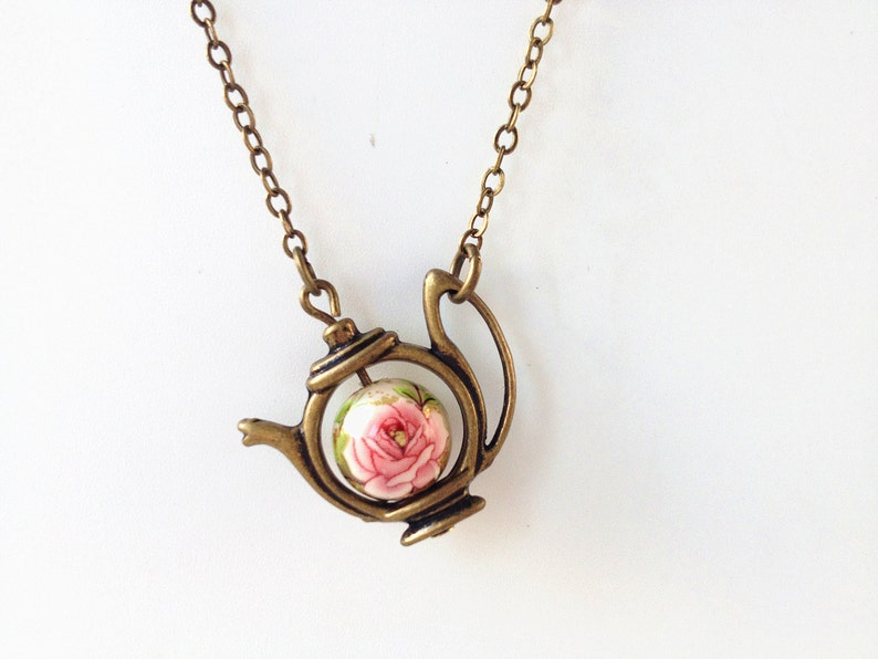 teapot necklaceteapot jewelrytea time necklacetea party image 0