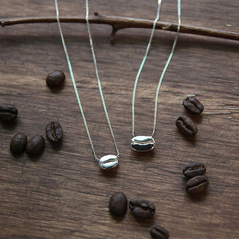 Coffee Necklace Coffee Bean Necklace Sterling Silver Coffee image 0
