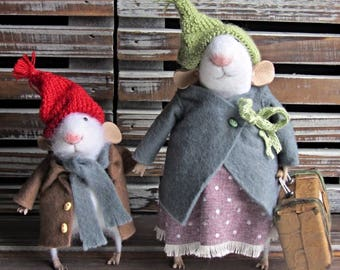 Mother and son. Mouse made of wool. Felted mice. White mice.