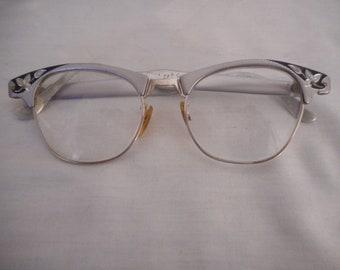 217c1e0bb6 Vintage Artcraft Cat Eye round Aluminum Eyeglasses Frames Art Craft Glasses