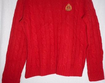 25a682f638 Vintage 100% Lambswool Lauren by Ralph Lauren Petite Red Crewneck Sweater  Sz PS