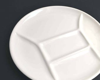 Vintage White STAUB Fondue/ Pierrade Divided Dinner French Plate Ceramic : dinner plates with dividers - Pezcame.Com