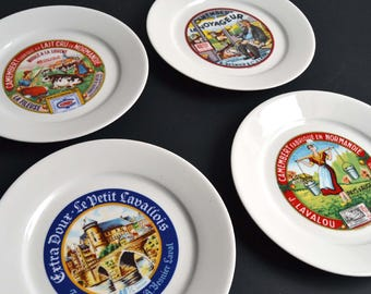 Set of 4 Vintage French Cheese Plates Serving Porcelain Plates From Limoges President Apilco Yves DESHOULIERES & French cheese plates   Etsy