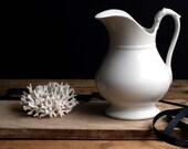 Large Antique French White Ironstone Jug Large Water Pitcher Porcelain Head Swan Neck Handle