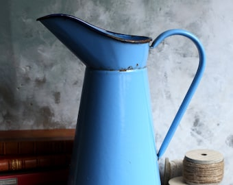 Large Antique Blue Enamel Pitcher French Rustic Metal Enamelware Jug