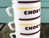 Set of 4 Retro French ARCOPAL Kitchen Bistro Vintage Glass Choky Hot Chocolate Coffee Cups