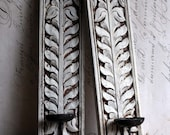 Pair of Carved Wooden Wall Sconces Vintage Wall Mounted White Painted Candle Holders SFV