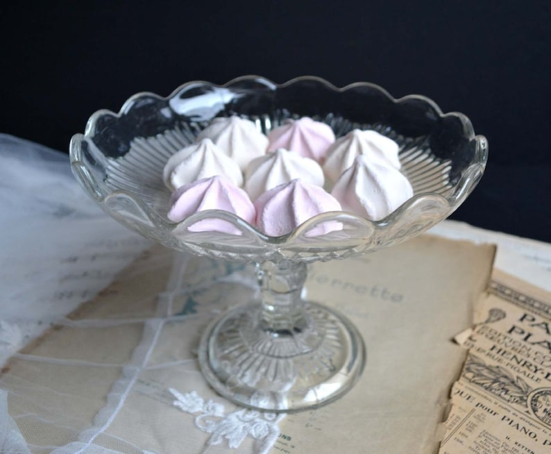 Vintage Pedestal Cake Stand Plate Molded Pressed Glass Dessert Compote Candy Display