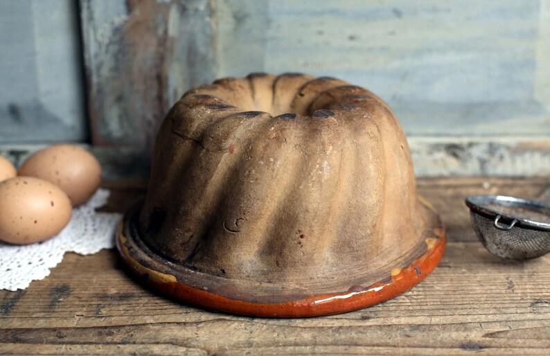 Rustic Antique Ceramic  KOUGLOF Mold BriocheCake Mould Primitive Terracotta Bundt Pan From Alsace