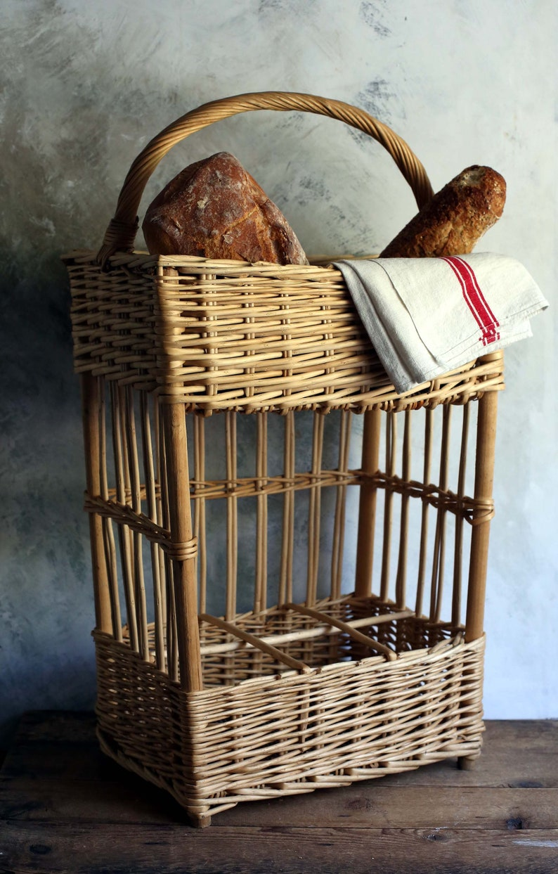 Large vintage French boulangerie baguette bread display basket from France - French Country Basket Inspiration: Resources for Rustic, French Market, and Boulangerie as well as photos to Inspire!