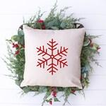 Farmhouse christmas pillows | Soft Felt Snowflake Pillow covers 20x20
