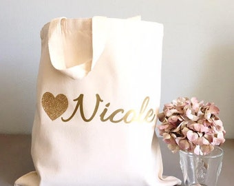 Custom tote bags - Tote bags - Glitter Heart tote bags - Bridal party tote bag - Bridesmaids thank you gift from Bride