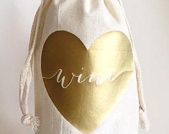 Custom wine bag - Wine bags - Love wine bag - Gift bags - Champagne bag - Hostess gifts - Host gift