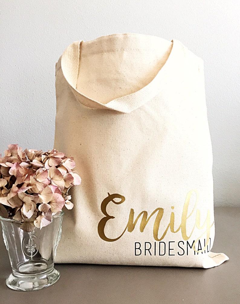 Bridesmaid tote bag for Bridal party gifts. Canvas Tote Bag image 0