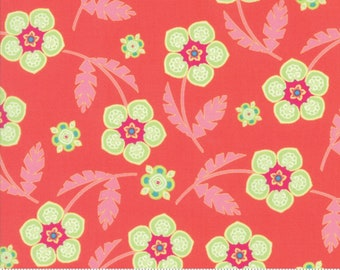 Flower Mill Bloomy Sprig Green fabric by Corey Yoder for
