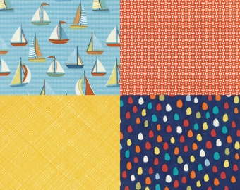 4 fat quarter bundle of fabrics coordinating with Sail Boats fabric by Timeless Treasures