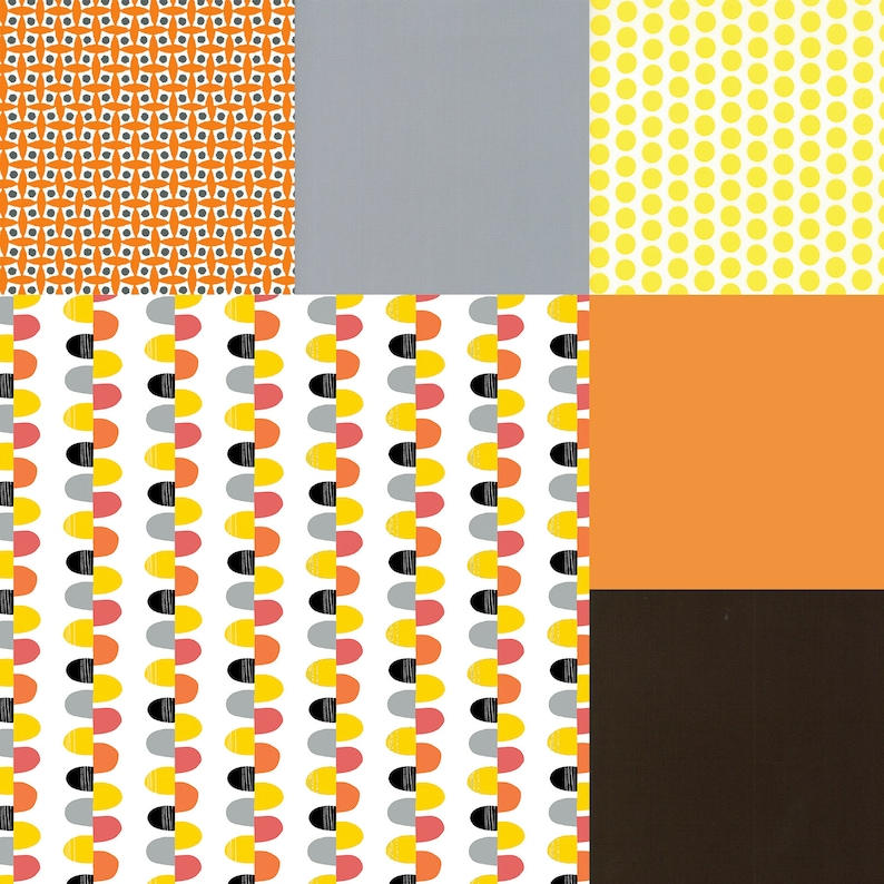 Fat quarter bundle of 6 Orange Pink Yellow & Gray fabrics image 0
