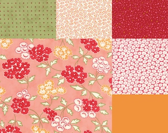 Fat quarter bundle of 6 red, orange, coral and green fabrics coordinating with Moda Hello Darling Bonnie & Camille Picnic Coral 55113 17