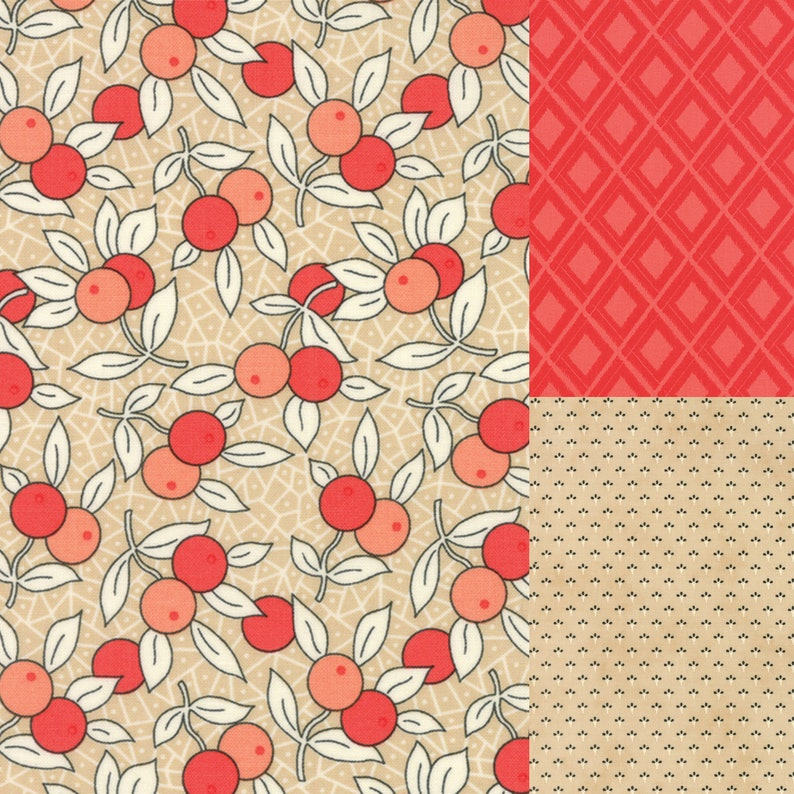 3 yard bundle of red and chestnut tan coordinating fabric from image 0