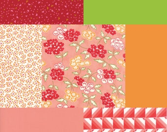 Fat quarter bundle of 7 red, orange, coral and green fabrics coordinating with Moda Hello Darling Bonnie & Camille Picnic Coral 55113 17