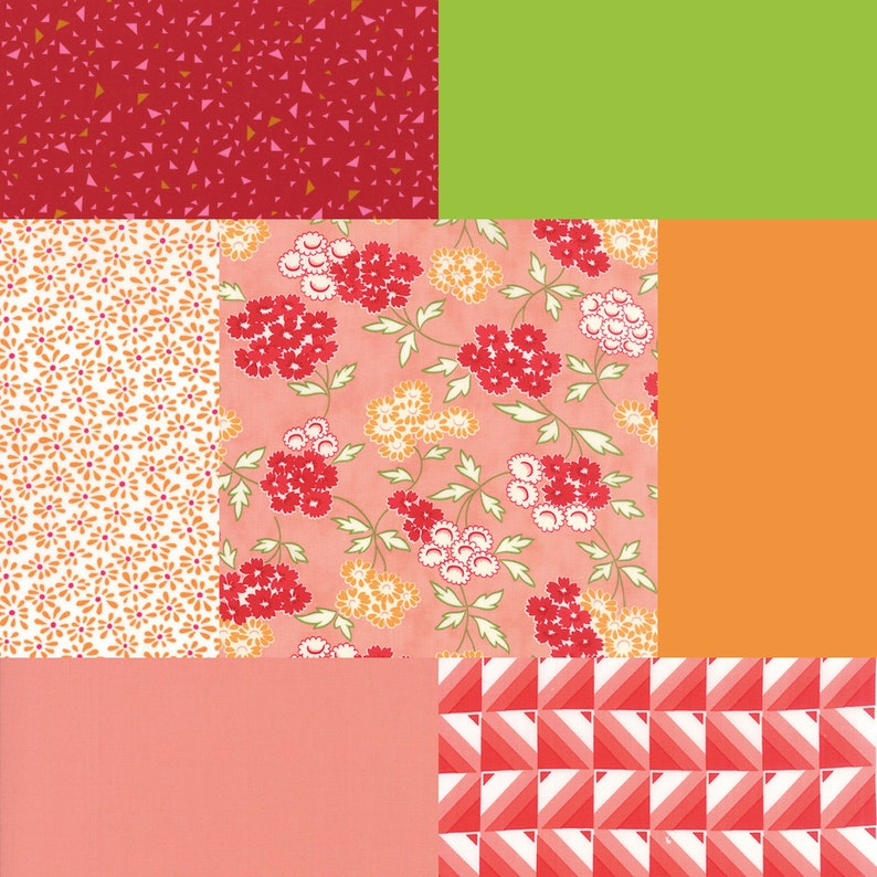 Fat quarter bundle of 7 red orange coral and green fabrics image 0